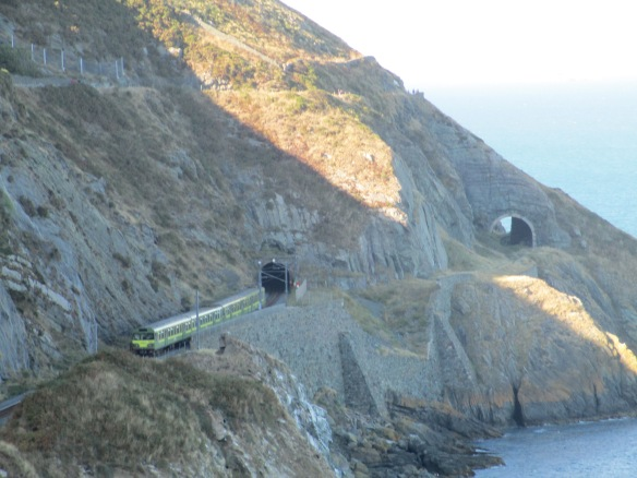Railway tunnels along the Irish Sea from the Greystones-Bray Cliff Walk Trail