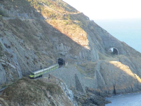 Railway tunnels along the Irish Sea from the Greystones-Bray Cliff Walk Trail
