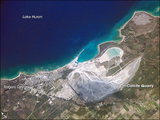 Rogers city, Michigan - world's largest limestone quarry - Source: presqueisleledger.com