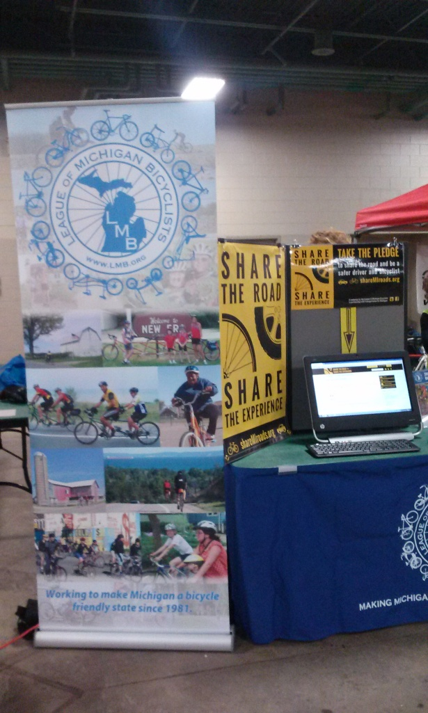 League of Michigan Bicyclist's booth