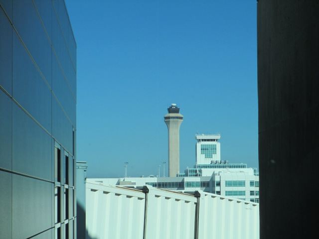 DIA control tower and one of the concourse control towers