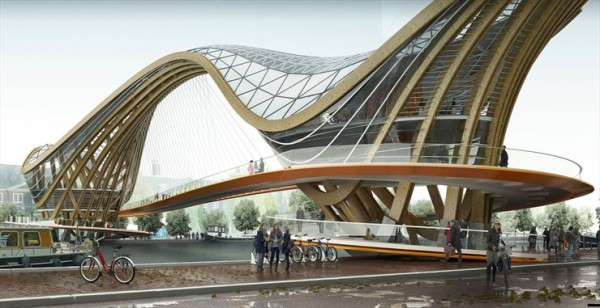 Proposed mixed use bridge in Amsterdam - Source: