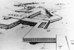 Perspective drawing of New Babylon - resembles many corporate campuses - Source: cup2013.wordpress.com/tag/constant-nieuwenhuys