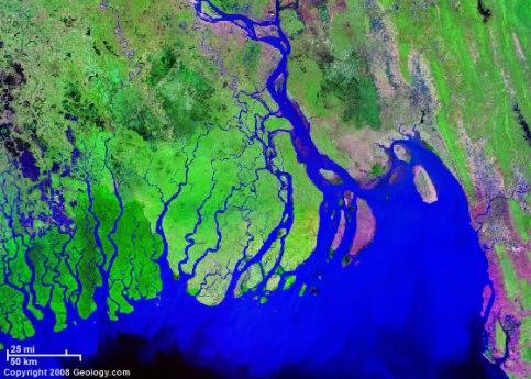 Ganges River delta, Bangladesh/India - Source: geology.com