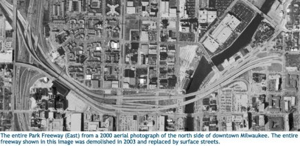 Park East Freeway in Milwaukee - Source:  wisconsinhighways.org