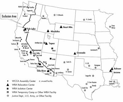 Map of Japanese-American Internment Camps - Source: en.wikipedia.org