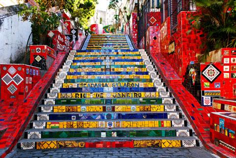 Selaron Stairs of Rio de Janeiro, Brazil - Source: travelinchicks.com
