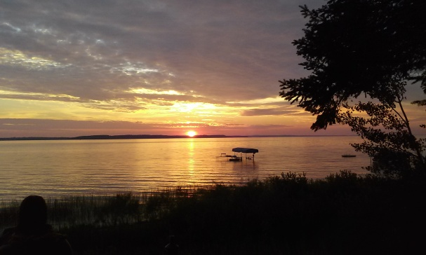 Sunset over Grand Traverse Bay in Elk Rapids, Michigan