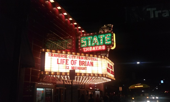 Awesome State Theater marquee in downton Traverse City during the T.C. Film Festival