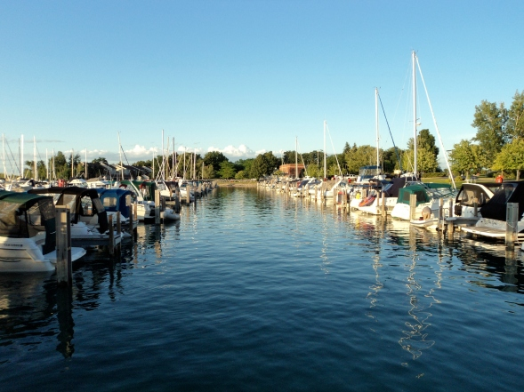 Boats moored in the Elk Rapids Marina