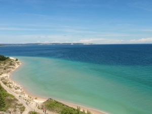 View of Lake Michigan and North Manitou Island from atop the South Manitou Lighthouse