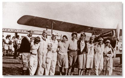 Some of the participants in the first Women's National Air Derby - Source: http://www.thaden.org/1929-womens-air-derby-photos.html