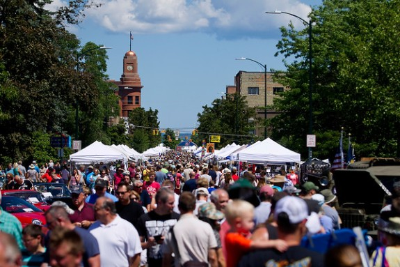 Source: Record-Eagle/Jan-Michael Stump - Crowds pack Union Street for Sunday's National Cherry Festival Old Town Classic Car Show and Arts and Crafts Fair in Traverse City.