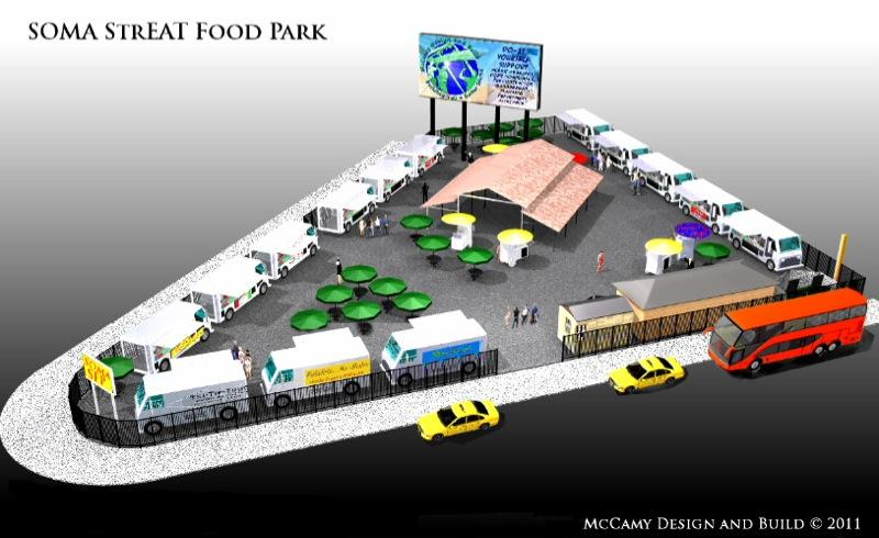 Much like share taxis, food truck courts drop barriers to entry both for neighborhood services and for entrepreneurs. Pictured is San Francisco's SOMA StrEAT Food Park – Source: insidescoopsf.sfgate.com